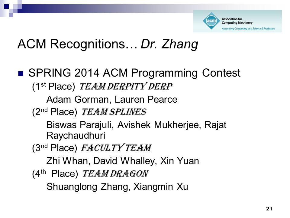 21 ACM Recognitions… Dr. Zhang SPRING 2014 ACM Programming Contest (1 st Place) Team Derpity Derp Adam Gorman, Lauren Pearce (2 nd Place) Team Splines