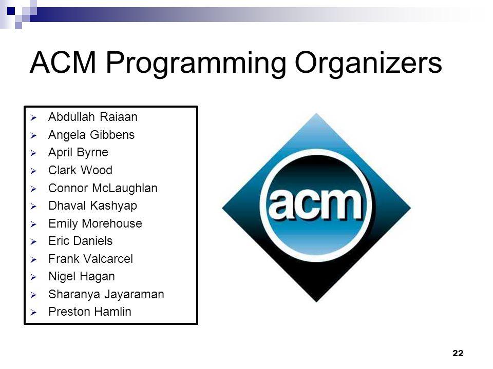 ACM Programming Organizers  Abdullah Raiaan  Angela Gibbens  April Byrne  Clark Wood  Connor McLaughlan  Dhaval Kashyap  Emily Morehouse  Eric
