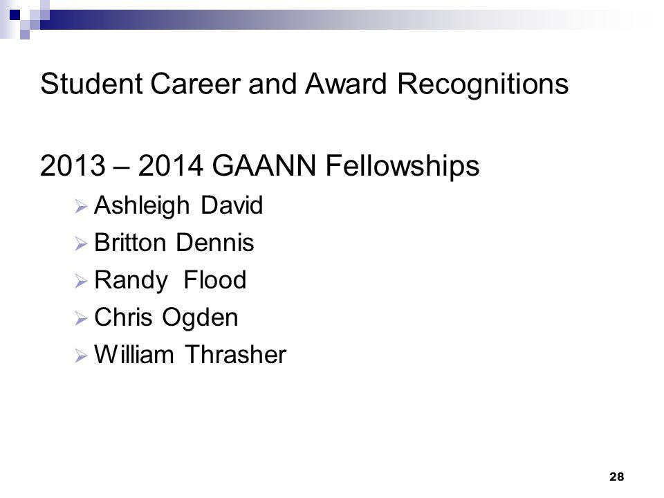 Student Career and Award Recognitions 2013 – 2014 GAANN Fellowships  Ashleigh David  Britton Dennis  Randy Flood  Chris Ogden  William Thrasher 2