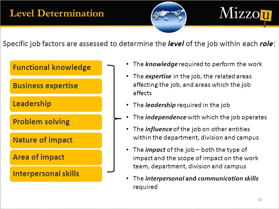 Functional knowledgeBusiness expertiseLeadershipProblem solvingNature of impactArea of impactInterpersonal skills The knowledge required to perform the work The expertise in the job, the related areas affecting the job, and areas which the job affects The leadership required in the job The independence with which the job operates The influence of the job on other entities within the department, division and campus The impact of the job – both the type of impact and the scope of impact on the work team, department, division and campus The interpersonal and communication skills required Specific job factors are assessed to determine the level of the job within each role: 16 Level Determination