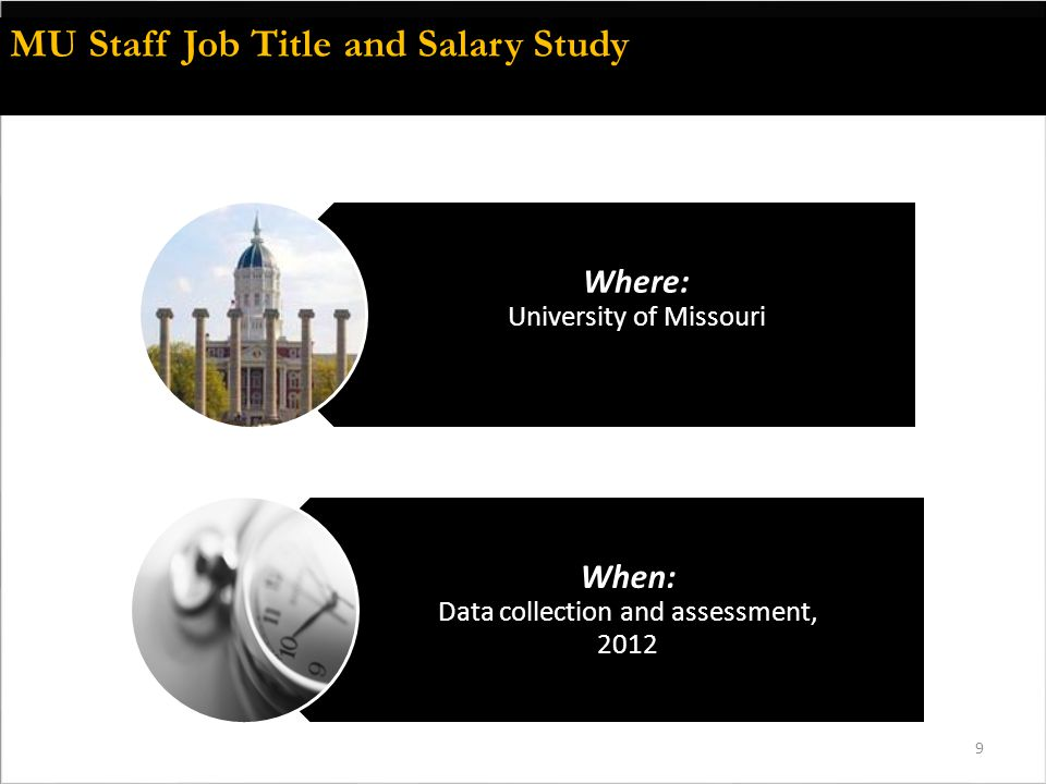 9 Where: University of Missouri When: Data collection and assessment, 2012 MU Staff Job Title and Salary Study
