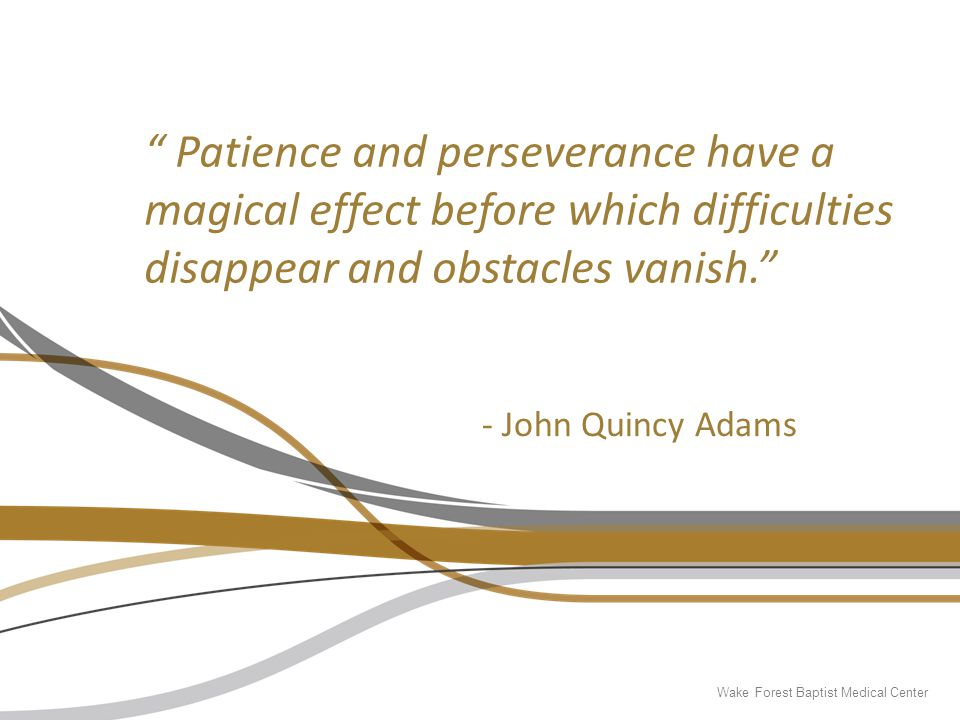 """ Patience and perseverance have a magical effect before which difficulties disappear and obstacles vanish."" - John Quincy Adams"