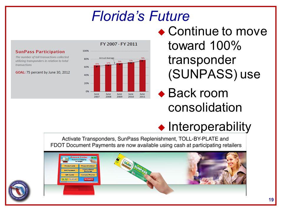 Florida's Future 19 u Continue to move toward 100% transponder (SUNPASS) use u Back room consolidation u Interoperability