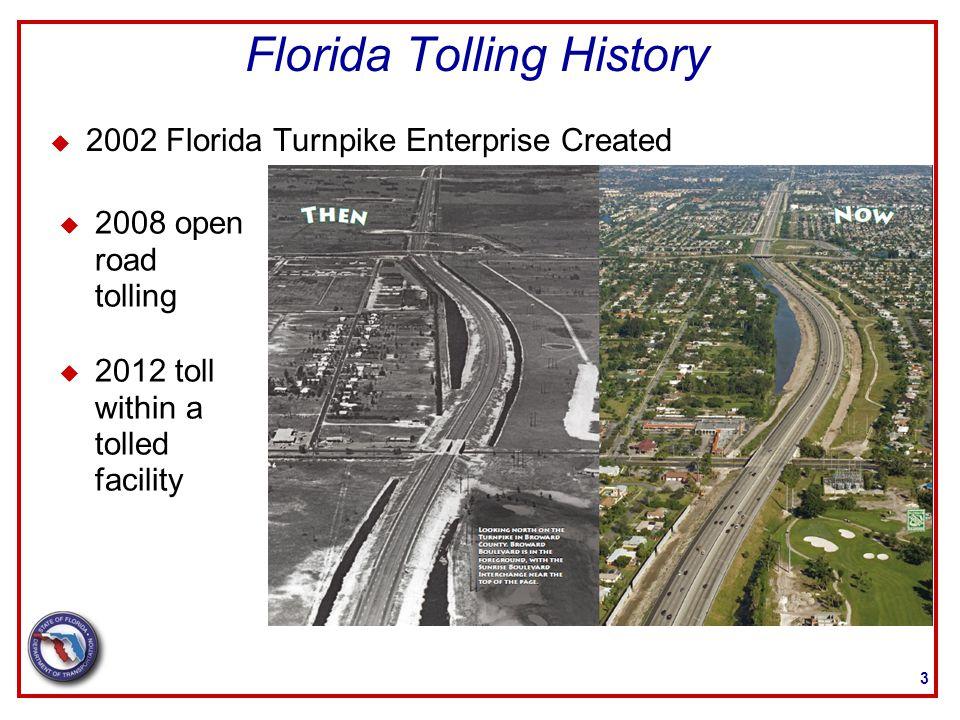 Express Lane- Future Tolling 14 Jacksonville Area Orlando Area Tampa Bay Area Broward & Palm Beach Counties Broward & Miami-Dade Counties Palmetto Expressway in Miami-Dade County CENTRAL REGION NORTHEAST REGION SOUTHEAST REGION 95295 44 9575 275 75
