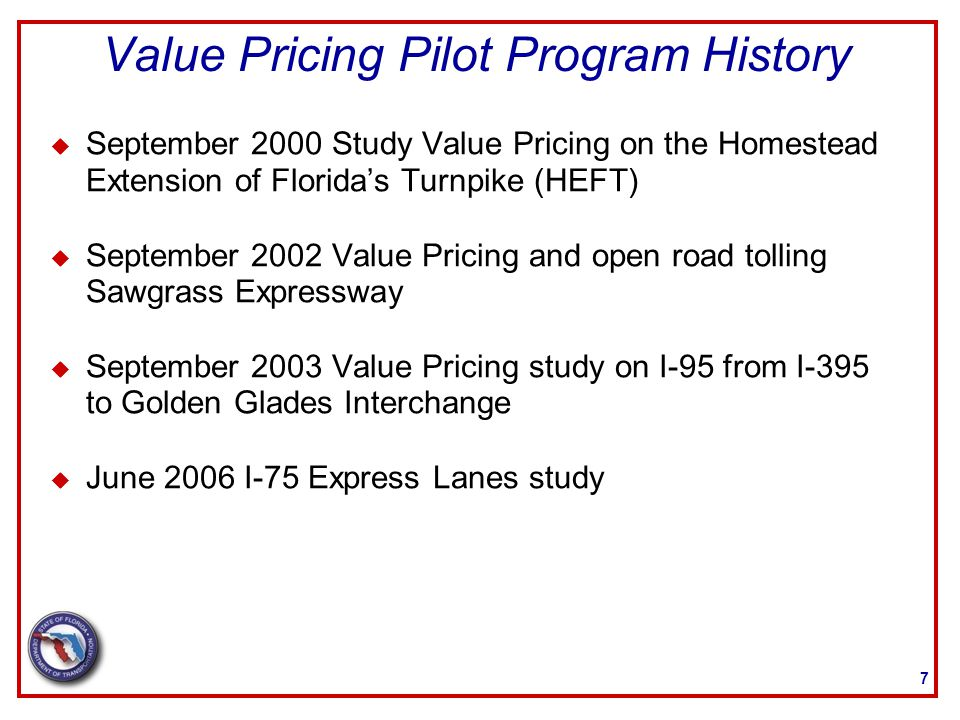 u November 2007 Implementation of I-95 Express u September 2010 Comprehensive Plan for Express Lane Network in Miami-Dade and Broward counties u January 2011 cost benefits of Bus Toll Lanes u October 2012 Integrated Congestion Pricing Plan (ICPP) on Turnpike System 8 Value Pricing Pilot Program History