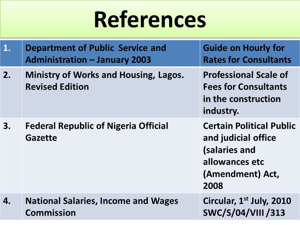 References 1.Department of Public Service and Administration – January 2003 Guide on Hourly for Rates for Consultants 2.Ministry of Works and Housing, Lagos.