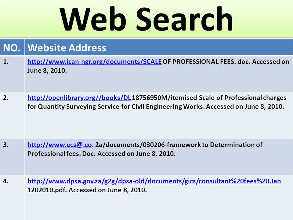 Web Search NO.Website Address 1.http://www.ican-ngr.org/documents/SCALEhttp://www.ican-ngr.org/documents/SCALE OF PROFESSIONAL FEES.