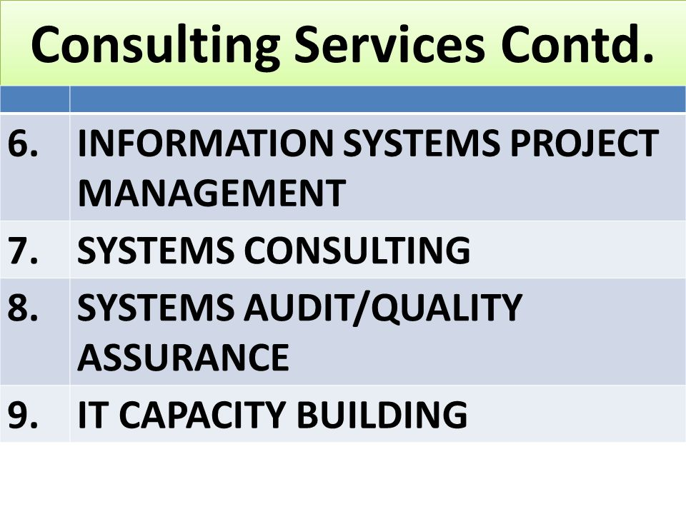 Consulting Services Contd.