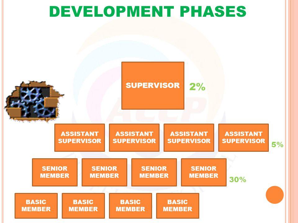 BASIC MEMBER SENIOR MEMBER 30% ASSISTANT SUPERVISOR 5% SUPERVISOR 2% DEVELOPMENT PHASES