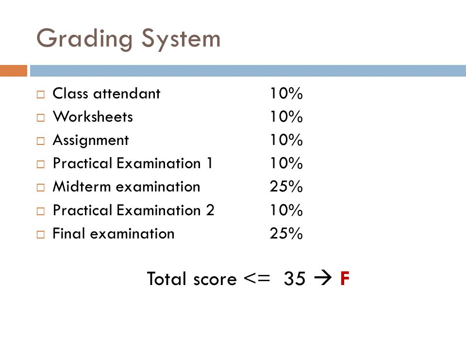 Grading System  Class attendant10%  Worksheets10%  Assignment10%  Practical Examination 110%  Midterm examination25%  Practical Examination 210%  Final examination25% Total score <= 35  F