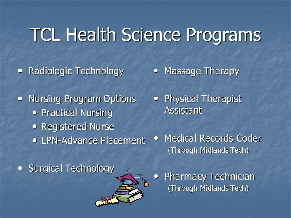 TCL Health Science Programs Radiologic Technology Radiologic Technology Nursing Program Options Nursing Program Options Practical Nursing Practical Nursing Registered Nurse Registered Nurse LPN-Advance Placement LPN-Advance Placement Surgical Technology Surgical Technology Massage Therapy Massage Therapy Physical Therapist Assistant Physical Therapist Assistant Medical Records Coder Medical Records Coder (Through Midlands Tech) Pharmacy Technician Pharmacy Technician (Through Midlands Tech)