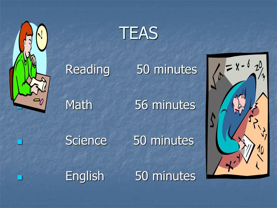 TEAS Reading 50 minutes Reading 50 minutes Math 56 minutes Math 56 minutes Science 50 minutes Science 50 minutes English 50 minutes English 50 minutes