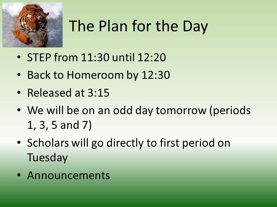 The Plan for the Day STEP from 11:30 until 12:20 Back to Homeroom by 12:30 Released at 3:15 We will be on an odd day tomorrow (periods 1, 3, 5 and 7) Scholars will go directly to first period on Tuesday Announcements