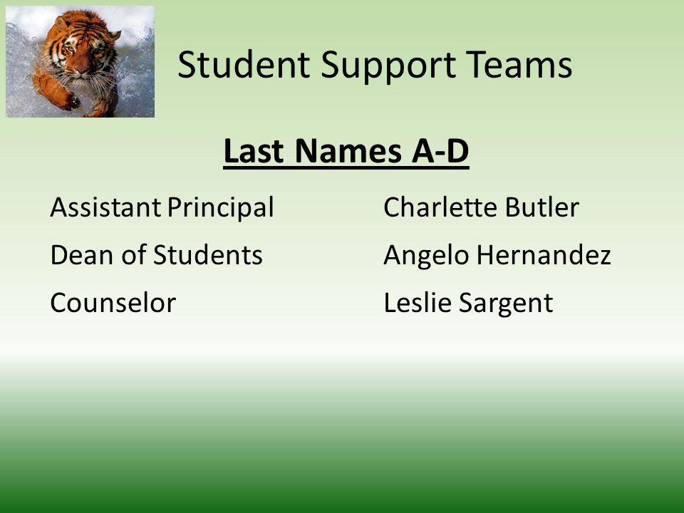 Student Support Teams Last Names A-D Assistant PrincipalCharlette Butler Dean of StudentsAngelo Hernandez CounselorLeslie Sargent