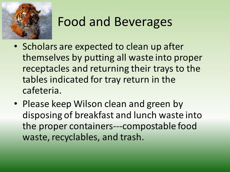 Scholars are expected to clean up after themselves by putting all waste into proper receptacles and returning their trays to the tables indicated for tray return in the cafeteria.