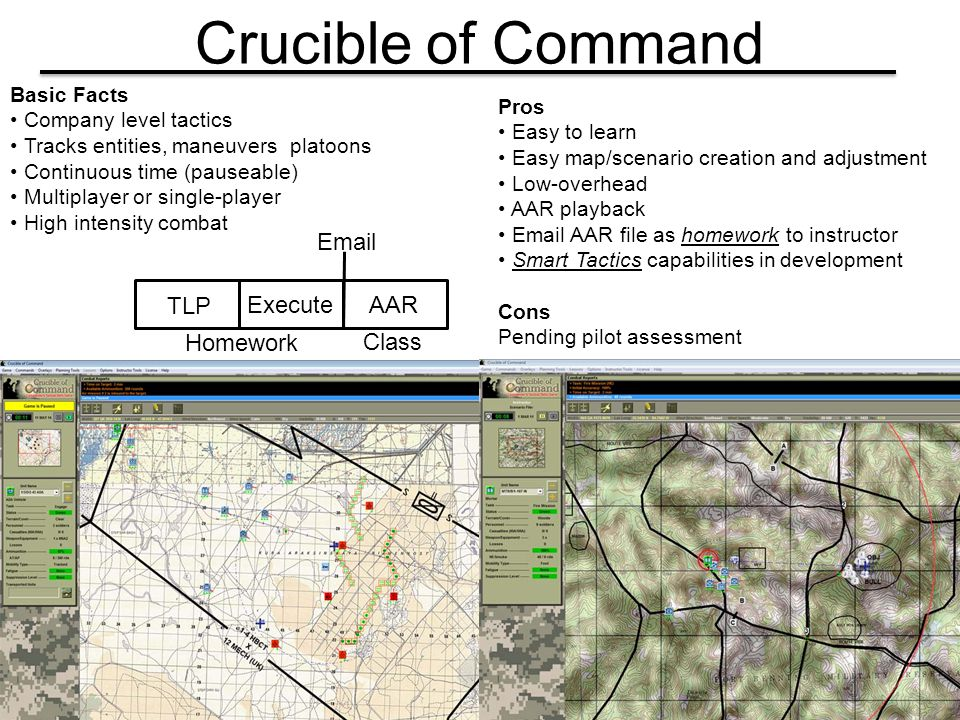 Crucible of Command Basic Facts Company level tactics Tracks entities, maneuvers platoons Continuous time (pauseable) Multiplayer or single-player Hig