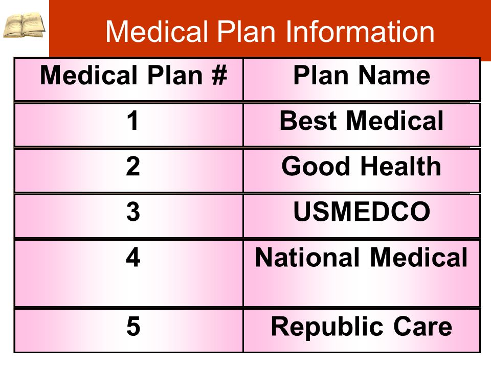 Medical Plan Information Insurance File Medical Plan #Plan Name 1Best Medical 2Good Health 3USMEDCO 4National Medical 5Republic Care