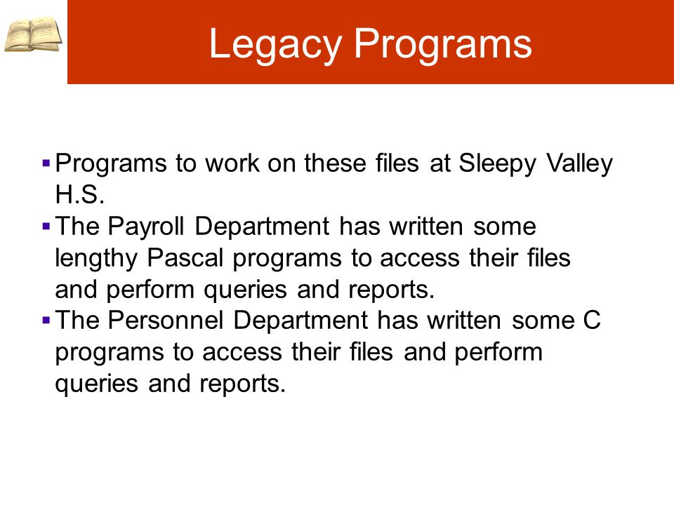 Legacy Programs  Programs to work on these files at Sleepy Valley H.S.
