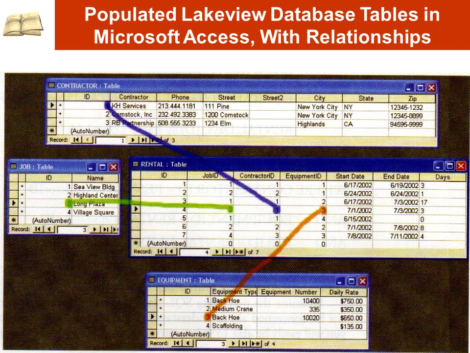Populated Lakeview Database Tables in Microsoft Access, With Relationships