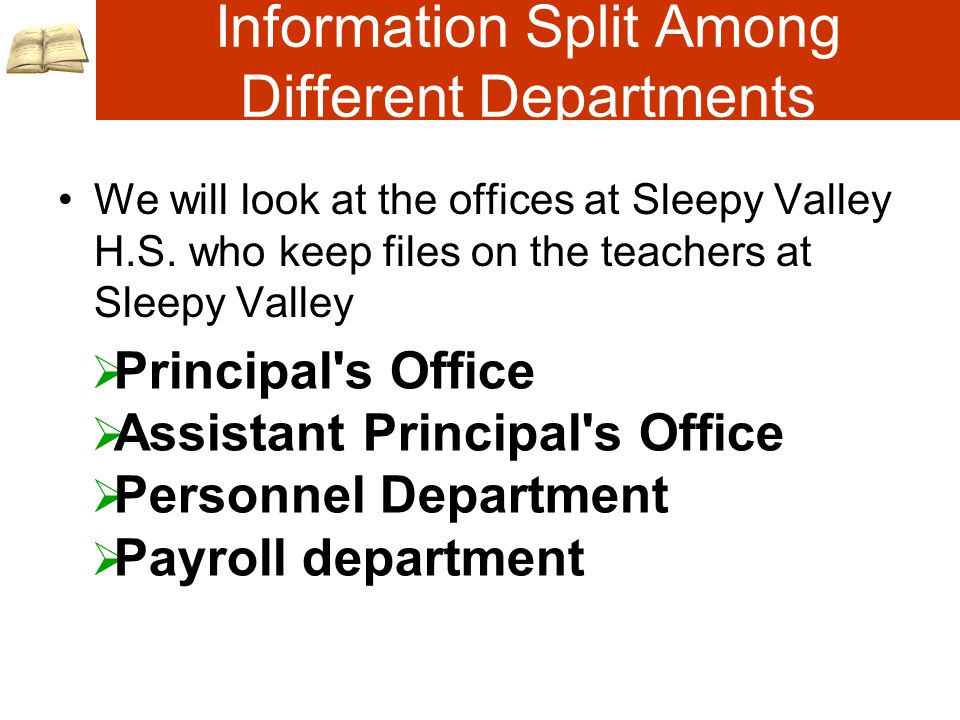 Information Split Among Different Departments We will look at the offices at Sleepy Valley H.S.