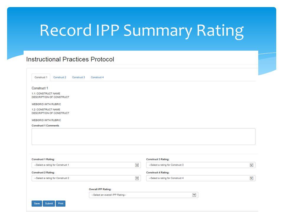 Record IPP Summary Rating