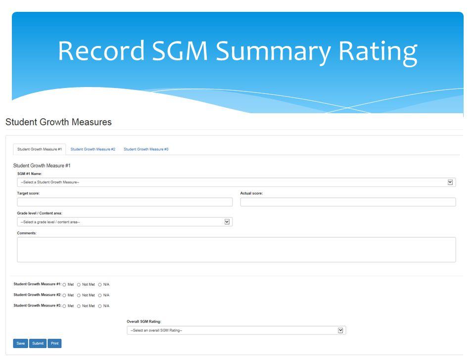 Record SGM Summary Rating