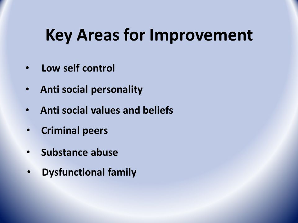 Key Areas for Improvement Low self control Anti social personality Anti social values and beliefs Substance abuse Dysfunctional family Criminal peers