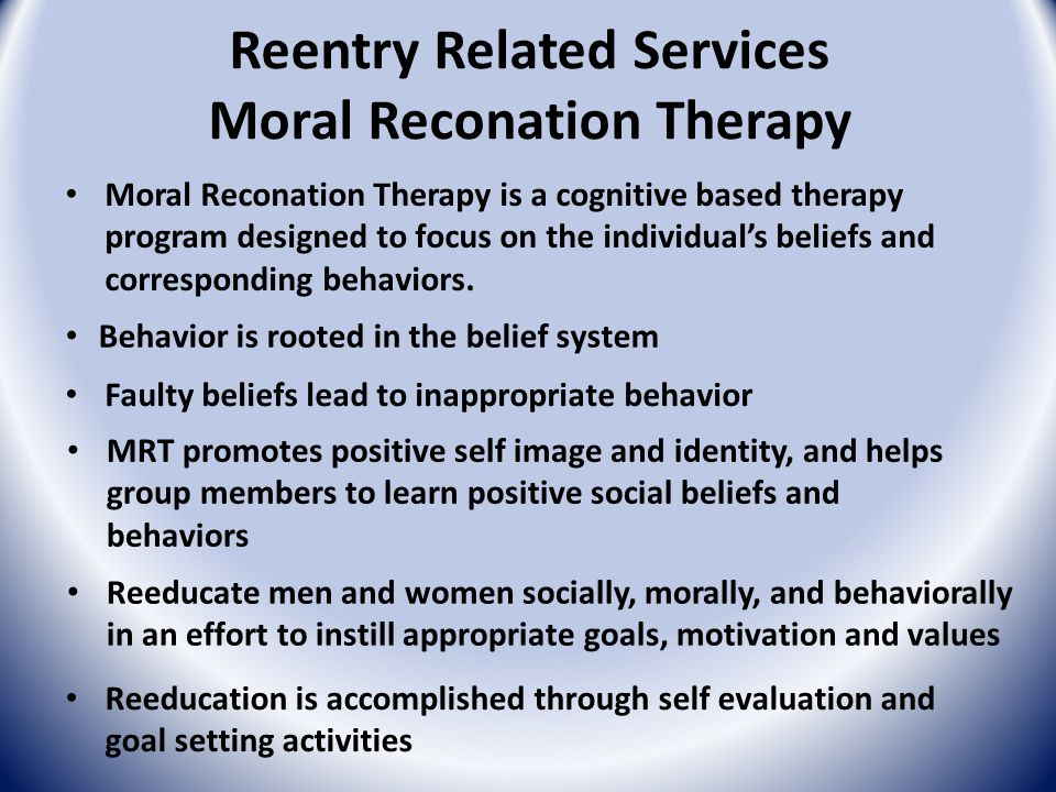 Moral Reconation Therapy Results have been positive in each of the 3 offices Voluntary program in each of the 3 offices Probation officers introduce members of their caseload to MRT and the benefits of the program MRT groups are facilitated by probation officers that have completed training and received their certification to facilitate the groups