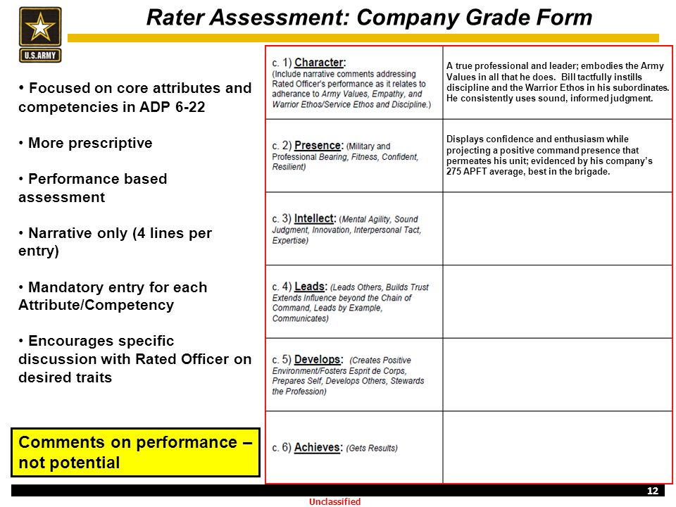 12 Rater Assessment: Company Grade Form Focused on core attributes and competencies in ADP 6-22 More prescriptive Performance based assessment Narrati