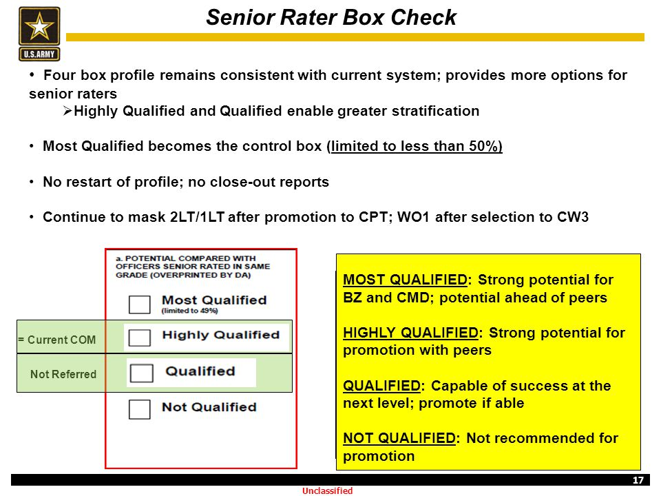 17 Senior Rater Box Check Four box profile remains consistent with current system; provides more options for senior raters  Highly Qualified and Qual
