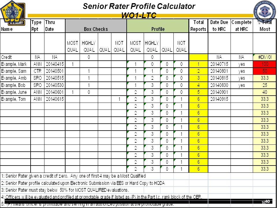 40 Senior Rater Profile Calculator WO1-LTC 16