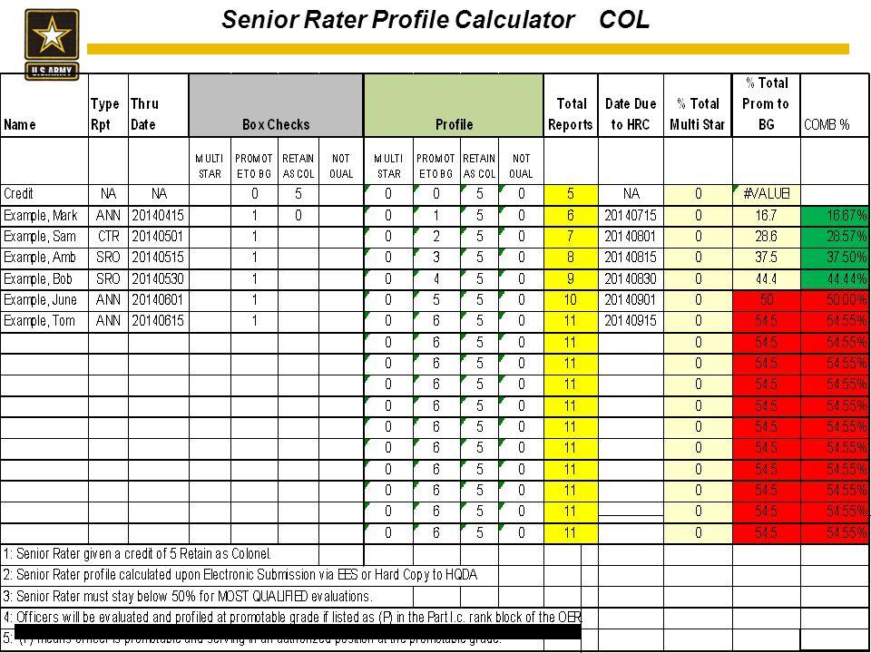 41 Senior Rater Profile Calculator COL 16