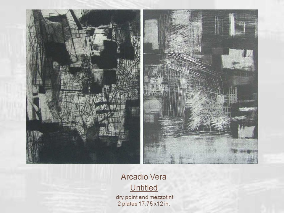Arcadio Vera Untitled dry point and mezzotint 2 plates 17,75 x12 in.