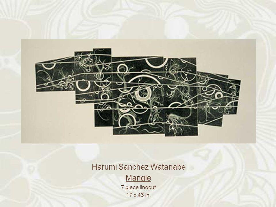 Harumi Sanchez Watanabe Mangle 7 piece linocut 17 x 43 in.