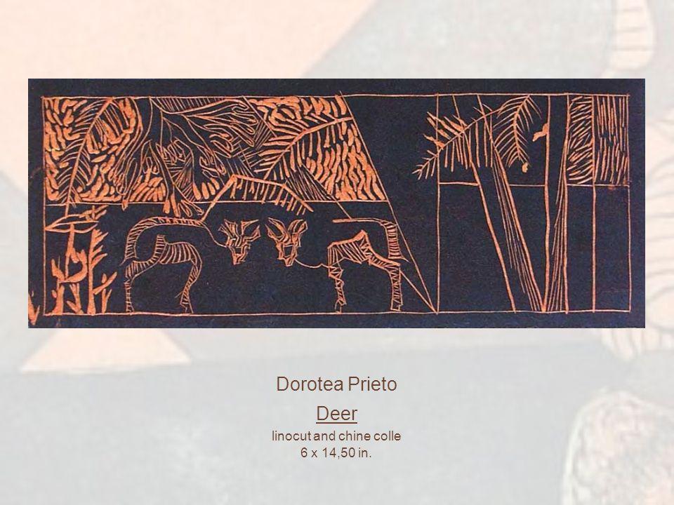 Harumi Sanchez Watanabe Bitis (warm tone version) dry point and aquatint 4,25 x 8,50 in.