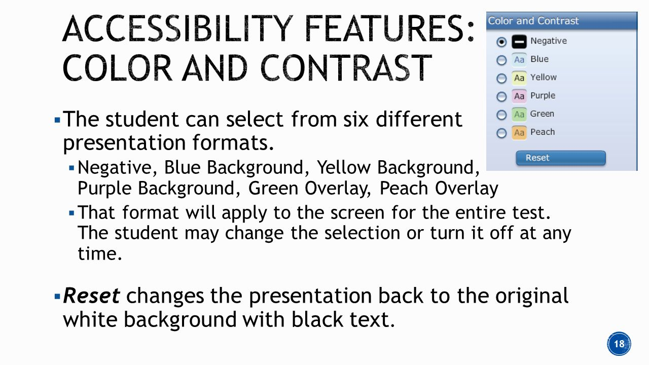  The student can select from six different presentation formats.