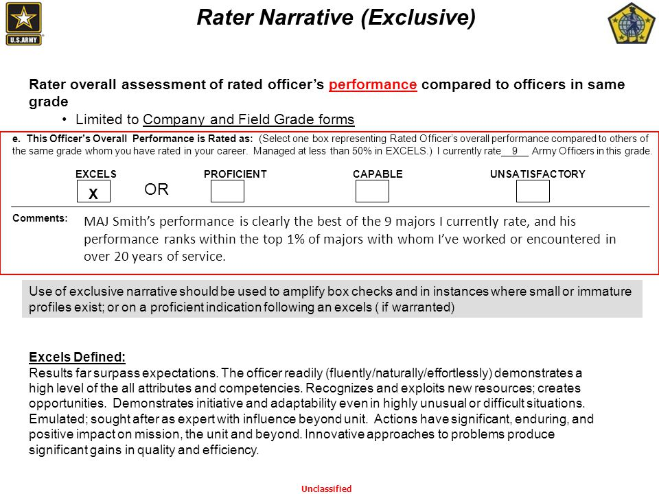 () Rater overall assessment of rated officer's performance compared to officers in same grade Limited to Company and Field Grade forms Rater Narrative (Exclusive) EXCELS (49%) e.