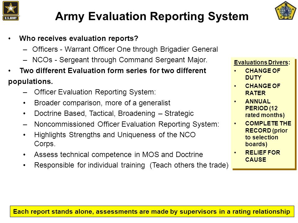 Who receives evaluation reports.
