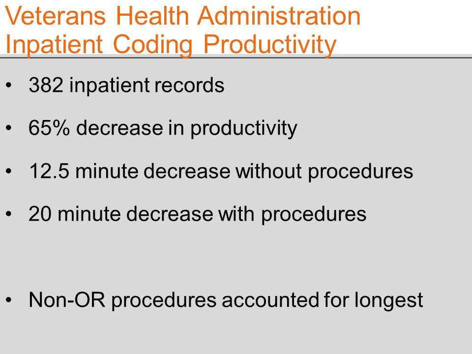 382 inpatient records 65% decrease in productivity 12.5 minute decrease without procedures 20 minute decrease with procedures Non-OR procedures accounted for longest Veterans Health Administration Inpatient Coding Productivity