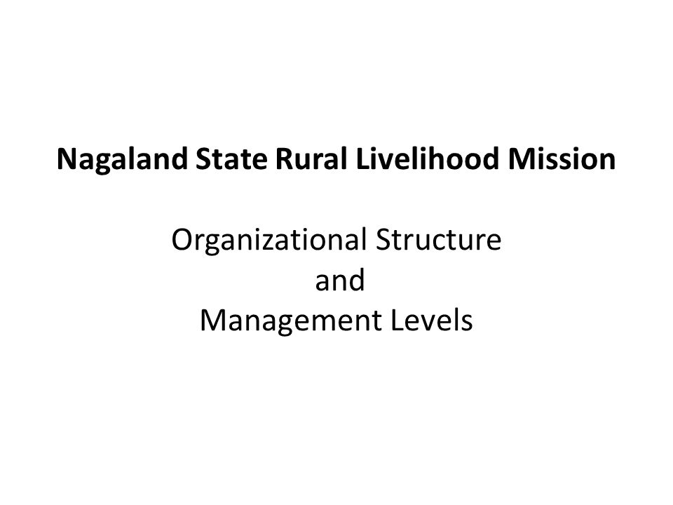 Nagaland State Rural Livelihood Mission Organizational Structure and Management Levels