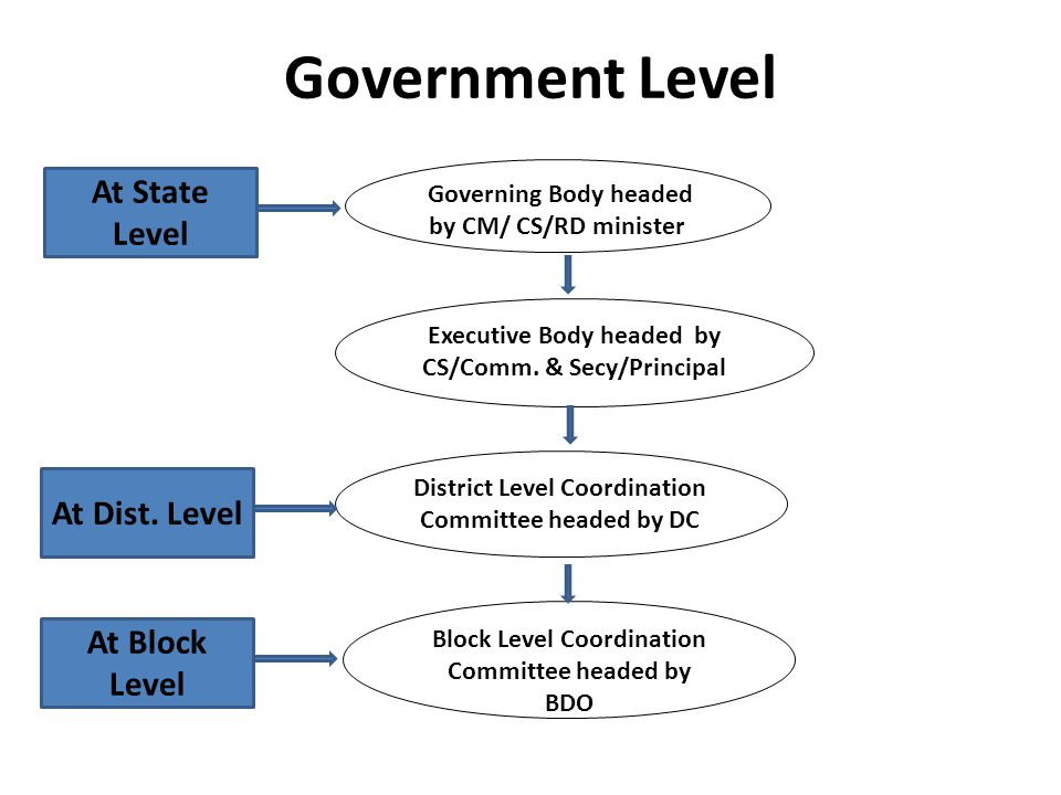 Governing Body headed by CM/ CS/RD minister Executive Body headed by CS/Comm.