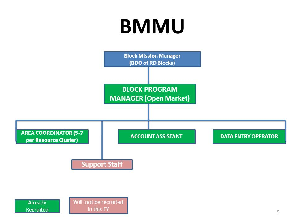 BMMU 5 AREA COORDINATOR (5-7 per Resource Cluster) ACCOUNT ASSISTANTDATA ENTRY OPERATOR Support Staff Already Recruited Will not be recruited in this FY BLOCK PROGRAM MANAGER (Open Market) Block Mission Manager (BDO of RD Blocks)