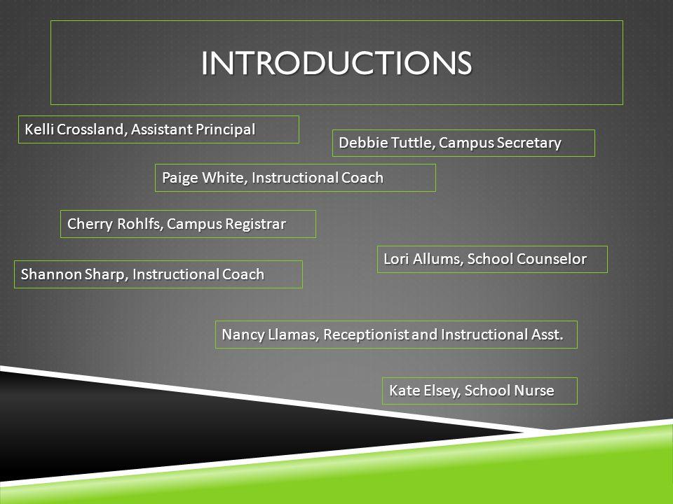 INTRODUCTIONS Debbie Tuttle, Campus Secretary Cherry Rohlfs, Campus Registrar Nancy Llamas, Receptionist and Instructional Asst. Kate Elsey, School Nu