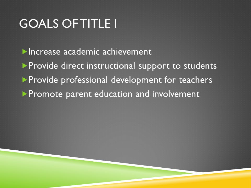 GOALS OF TITLE I  Increase academic achievement  Provide direct instructional support to students  Provide professional development for teachers  Promote parent education and involvement