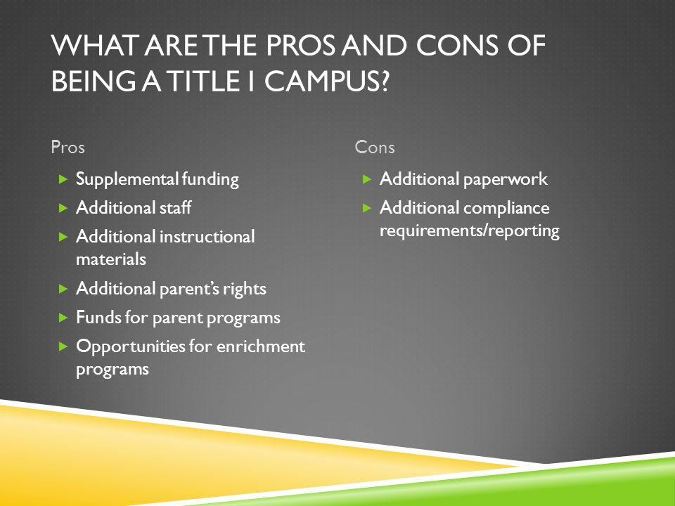 WHAT ARE THE PROS AND CONS OF BEING A TITLE I CAMPUS.