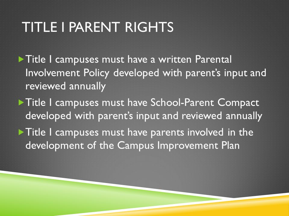TITLE I PARENT RIGHTS  Title I campuses must have a written Parental Involvement Policy developed with parent's input and reviewed annually  Title I