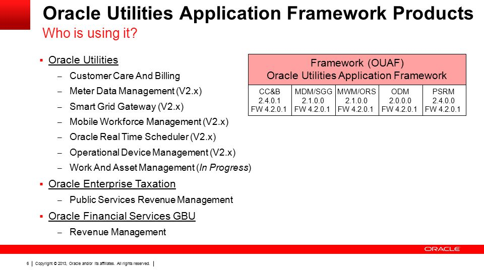 Copyright © 2013, Oracle and/or its affiliates. All rights reserved. 6 Oracle Utilities Application Framework Products  Oracle Utilities – Customer C