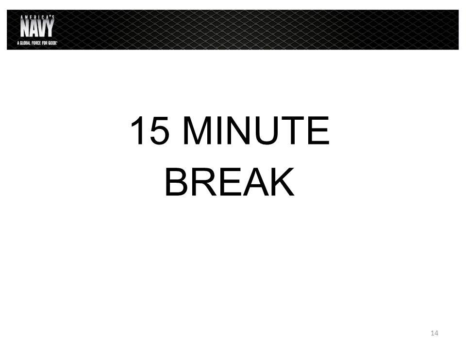 15 MINUTE BREAK 14