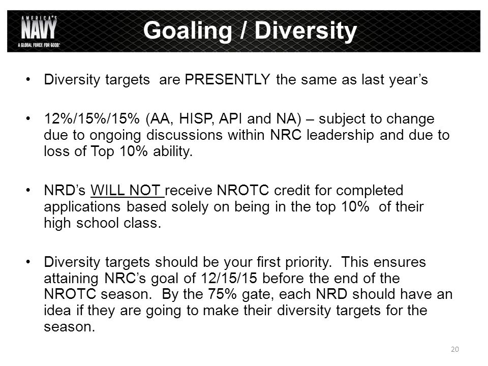 Diversity targets are PRESENTLY the same as last year's 12%/15%/15% (AA, HISP, API and NA) – subject to change due to ongoing discussions within NRC l