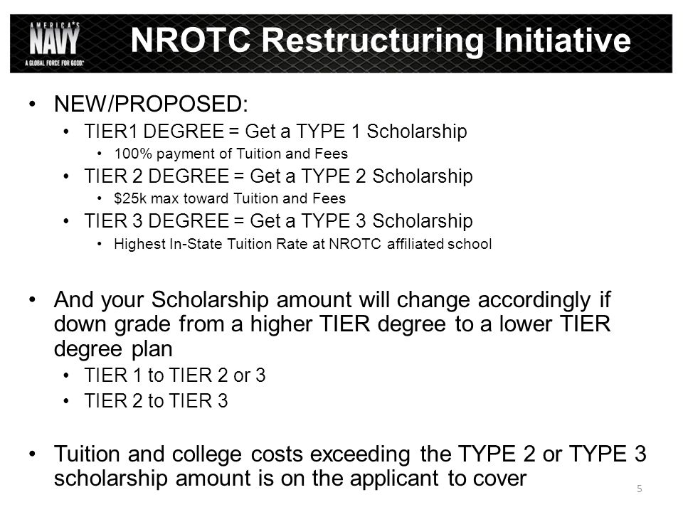 NEW/PROPOSED: TIER1 DEGREE = Get a TYPE 1 Scholarship 100% payment of Tuition and Fees TIER 2 DEGREE = Get a TYPE 2 Scholarship $25k max toward Tuitio